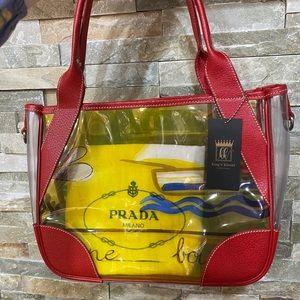 Prada Clear/Yellow Vinyl Tote Bag